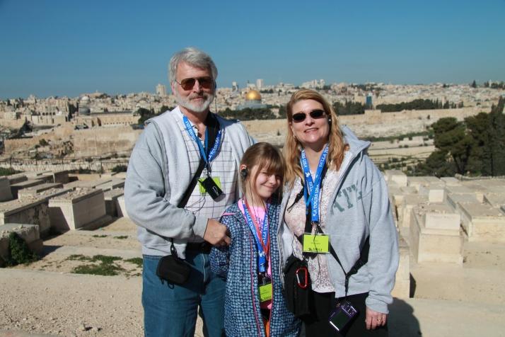Zoë and her parents on Mount Olive.