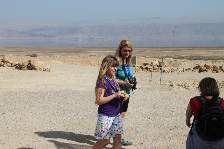 Zoë and her mother at Qumran