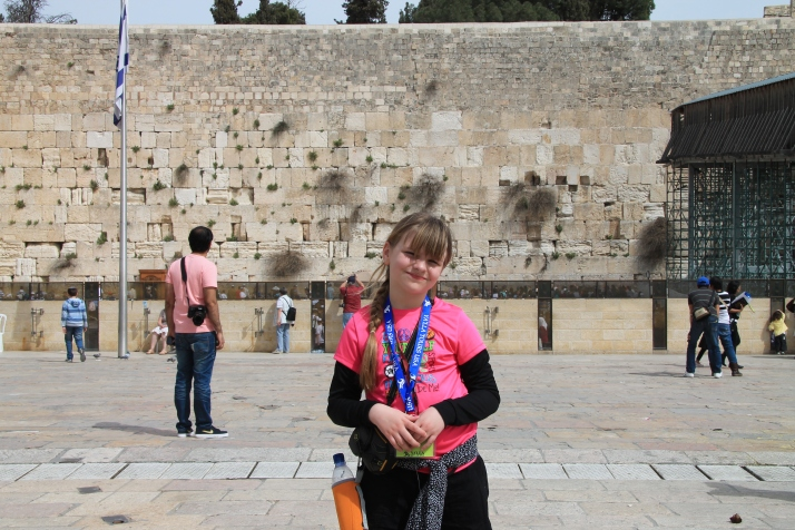 Zoë in front of the Western (Wailing) Wall of the Temple