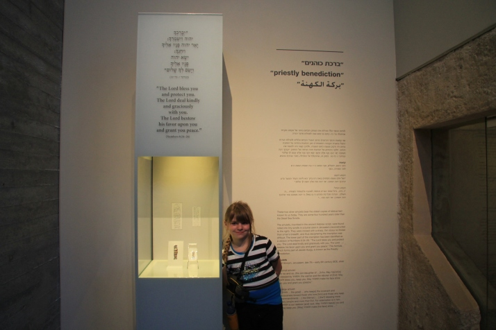 Another view of Zoë by the exhibit of the Silver Scrolls.