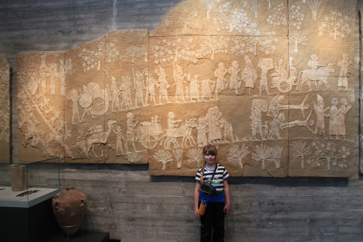 Zoë with the Assyrian Lachish Reliefs Exhibit.